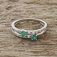 Emerald cocktail ring, 'Vibrant Delight' - Emerald and CZ Cocktail Ring Crafted in Thailand