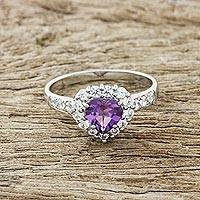 Amethyst cocktail ring, 'Magic Heart' - Heart-Shaped Amethyst Cocktail Ring from Thailand