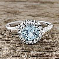 Blue topaz cocktail ring, 'Blue Dazzle' - Blue Topaz and CZ Cocktail Ring Crafted in Thailand