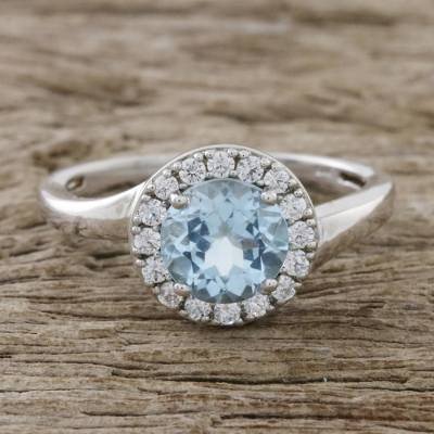 Blue Topaz and CZ Cocktail Ring Crafted in Thailand