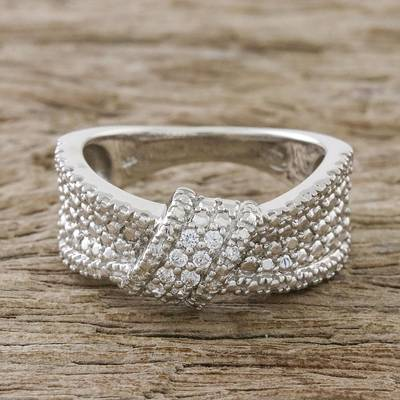 Sterling Silver and CZ Band Ring Crafted in Thailand