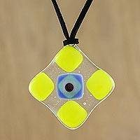 Art glass pendant necklace, 'Daffodil Treat' - Yellow and Multi-Color Geometric Art Glass Pendant Necklace