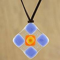 Art glass pendant necklace, 'Periwinkle Treat' - Blue and Multi-Color Geometric Art Glass Pendant Necklace