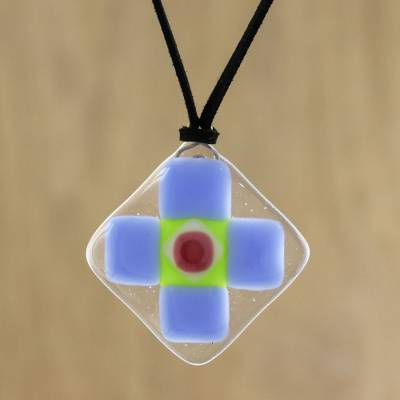 Art glass pendant necklace, 'Periwinkle Cross' - Blue and Red Geometric Cross Art Glass Pendant Necklace