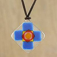 Art glass pendant necklace, 'Cerulean Cross' - Cerulean Blue Geometric Cross Art Glass Pendant Necklace