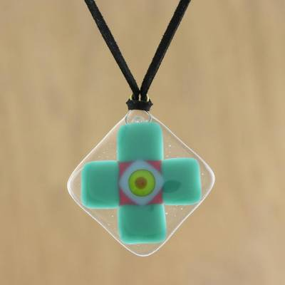 Art glass pendant necklace, 'Sea Cross' - Sea Green Geometric Cross Art Glass Pendant Necklace