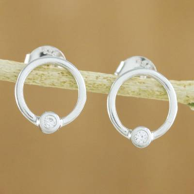Sterling silver stud earrings, 'Gleaming' - Cubic Zirconia and Sterling Silver Circle Stud Earrings