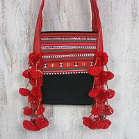 Cotton blend applique sling, 'Joyful Lisu in Red' - Cotton Blend Applique Sling in Red from Thailand