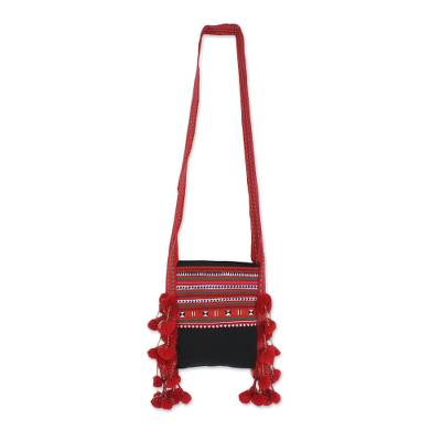 Cotton Blend Applique Sling in Red from Thailand