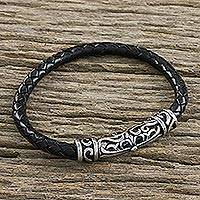 Leather braided pendant bracelet,