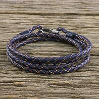 Leather wrap bracelet, 'Braided Friendship in Blue' - Braided Leather Wrap Bracelet in Blue from Thailand