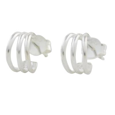 High-Polish Sterling Silver Half-Hoop Earrings from Thailand