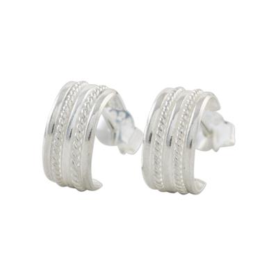 Rope Motif Sterling Silver Half-Hoop Earrings