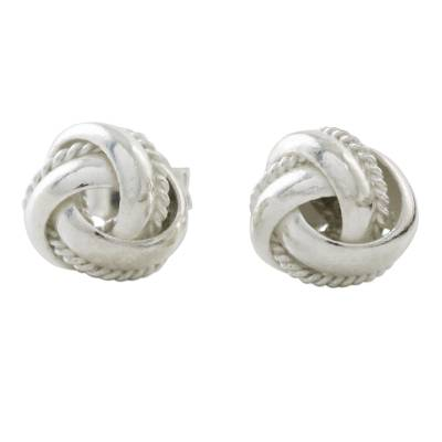Knot Motif Sterling Silver Stud Earrings from Thailand