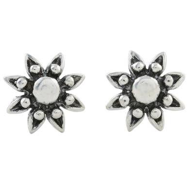 Floral Sterling Silver Stud Earrings from Thailand