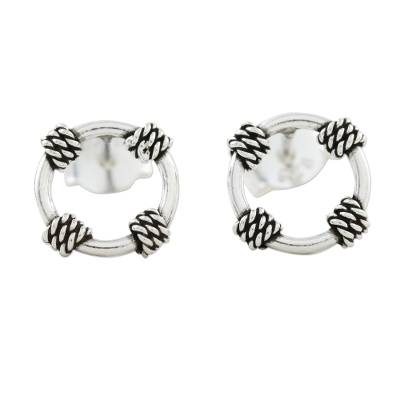 Rope Motif Sterling Silver Stud Earrings from Thailand