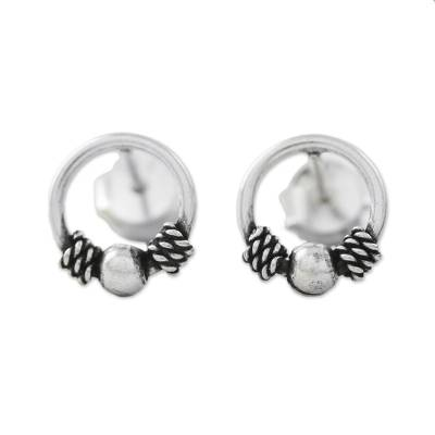 Artisan Crafted Circular Sterling Silver Stud Earrings