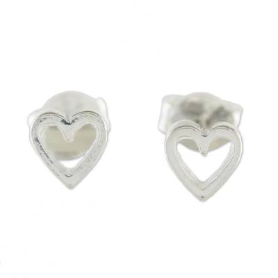 High-Polish Sterling Silver Heart Stud Earrings