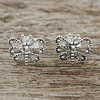 Sterling silver stud earrings, 'Dotted Butterflies' - Openwork Butterfly Sterling Silver Stud Earrings