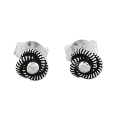 Spiral Motif Sterling Silver Stud Earrings from Thailand
