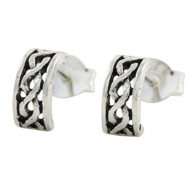 Sterling Silver Braid Half-Hoop Earrings from Thailand