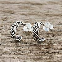 Sterling silver half-hoop earrings, 'Lovely Braid' - Braid Motif Sterling Silver Half-Hoop Earrings from Thailand