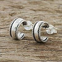 Sterling silver half-hoop earrings, 'Purity of the Mind' - Rope Motif Sterling Silver Half-Hoop Earrings from Thailand
