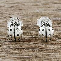 Sterling silver stud earrings, 'Cute Ladybugs' - Sterling Silver Ladybug Stud Earrings from Thailand