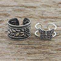 Sterling silver ear cuffs, 'Nature's Garden' - Butterfly and Floral Motif Sterling Silver Ear Cuffs