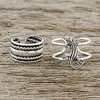 Sterling silver ear cuffs, 'Little Lizard' - Sterling Silver Lizard Ear Cuffs from Thailand