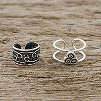 Sterling silver ear cuffs, 'Hill Tribe Way' - Spiral Motif Sterling Silver Ear Cuffs from Thailand