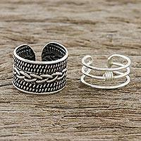 Sterling silver ear cuffs, 'Ties That Bind' - Braid Motif Sterling Silver Ear Cuffs from Thailand
