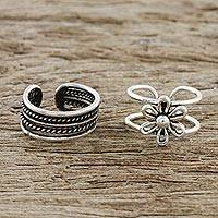 Sterling silver ear cuffs, 'Boutique Garden' - Floral and Patterned Sterling Silver Ear Cuffs from Thailand
