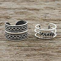 Sterling silver ear cuffs, 'Zigzag Charm' - Zigzag and Rope Motif Sterling Silver Ear Cuffs