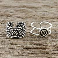 Sterling silver ear cuffs, 'Flow of the Wind' - Spiral Motif Sterling Silver Ear Cuffs from Thailand