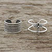 Sterling silver ear cuffs, 'Piety' - Cross and Rope Motif Sterling Silver Ear Cuffs from Thailand