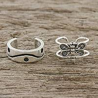 Sterling silver ear cuffs, 'Dragonfly Lover' - Dragonfly and Wave Motif Sterling Silver Ear Cuffs