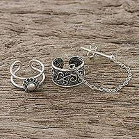 Sterling silver ear cuffs, 'Ethereal Breeze' - Spiral Motif Sterling Silver Ear Cuffs with Chain