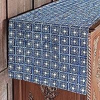 Cotton batik table runner, 'Hill Tribe Focus' - Hand-Dyed Navy and White Cotton Batik Square Table Runner