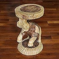 Wood stool, 'Hello Elephant' - Raintree Wood Elephant Stool Crafted in Thailand