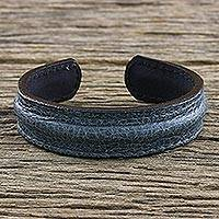 Men's leather cuff bracelet, 'Rugged Simplicity' - Men's Handcrafted Teal Leather Cuff Bracelet from Thailand