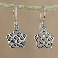 Sterling silver dangle earrings, 'Intricate' - Handcrafted Sterling Silver Openwork Star Dangle Earrings
