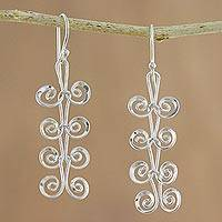 Sterling silver dangle earrings, 'Fern Spirals' - Sterling Silver Spiral Motif Dangle Earrings from Thailand