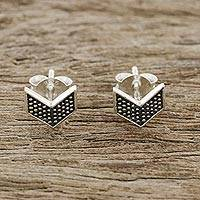 Sterling silver stud earrings, 'Chevron Chic' - Sterling Silver Chevron Stud Earrings from Thailand