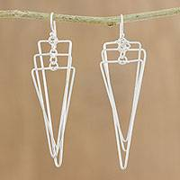 Sterling silver dangle earrings, 'Matte Triangles' - Modern Triangular Sterling Silver Dangle Earrings