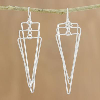 Sterling silver dangle earrings, Matte Triangles