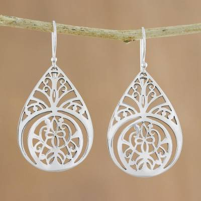 Sterling silver dangle earrings, 'Merry Bloom' - Sterling Silver Dangle Earrings Crafted in Thailand