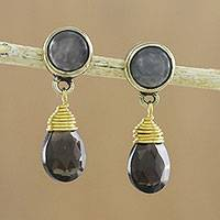 Gold plated chalcedony and quartz dangle earrings, 'Night Mist' - Chalcedony and Faceted Smoky Quartz in Brass Dangle Earrings