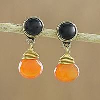Onyx and carnelian dangle earrings, 'Smoldering Embers' - Round Onyx and Teardrop Carnelian in Brass Dangle Earrings