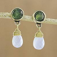 Gold plated peridot and chalcedony dangle earrings, 'Serene Field' - Round Peridot Teardrop Chalcedony in Brass Dangle Earrings